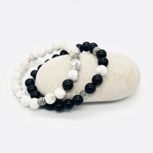 bracelet duo yin yang howlite obsidienne