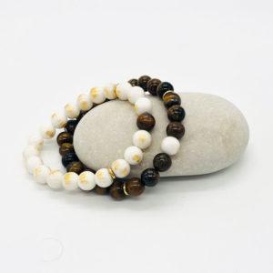 bracelet duo couple oeil de tigre - jade blanc doré